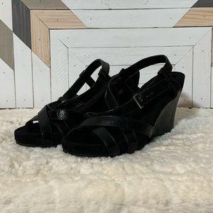 Aerosoles Pretty Plush Black Leather & Suede Wedge